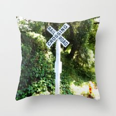 Korbel Rail Road Crossing Throw Pillow