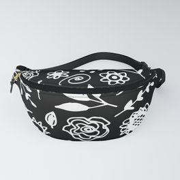 flowers leaves abstract doodle hand drawn lines scandinavian style white black fashion print, trend Fanny Pack