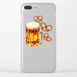 Beer & Pretzel Pattern - Black Clear iPhone Case