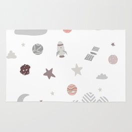 space galaxy clouds Rug