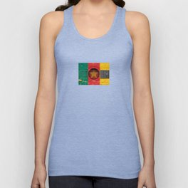 Old Vintage Acoustic Guitar with Cameroon Flag Unisex Tank Top