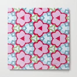 Flower-Kaleidoscope Pink Metal Print