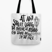 camus Tote Bags featuring ALBERT CAMUS ROCKJAM by Josh LaFayette