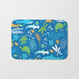 Sharks, Sting Rays and Turtles Bath Mat