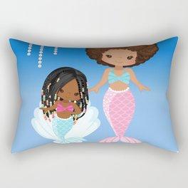 Mom and Daughter Sea Pearls | Black Mermaids | Afro Mermaid Rectangular Pillow