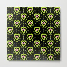 Butterfly and heart .Green with black pattern . Metal Print