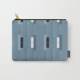 White Hairline Blue Squares Carry-All Pouch