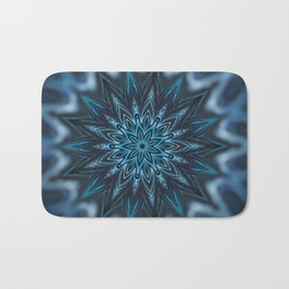 Blue Ice Swirl mandala Bath Mat