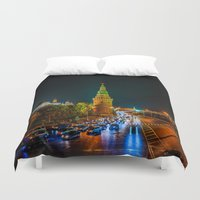 moscow Duvet Covers featuring Moscow Kremlin At Night by digital2real