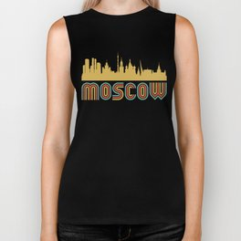 Vintage Style Moscow Russia Skyline Biker Tank