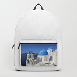 Santorini, Oia Village, Blue and White Church Backpack