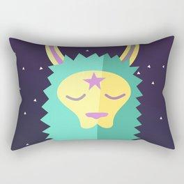 Yacana: The Space Llama Head (Cyan) Rectangular Pillow