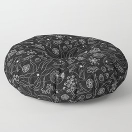 Cephalopods - Black and White Floor Pillow