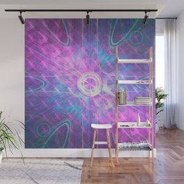 Opening A Shiny Purple Button Wall Mural