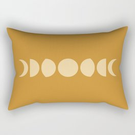 Minimal Moon Phases - Golden Orange Rectangular Pillow