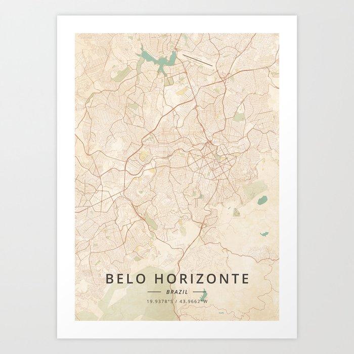 Belo Horizonte, Brazil - Vintage Map Art Print