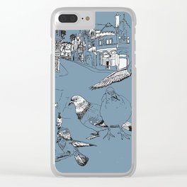 Feeding Pigeons Clear iPhone Case