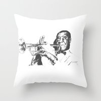 louis armstrong Throw Pillows featuring Louis Armstrong, Satchmo or Pops by 1and9