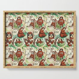 sloth in coffee pattern Serving Tray