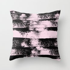 Pink Black Abstract texture  Throw Pillow