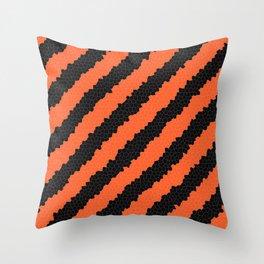 Black and Orange stripes Throw Pillow