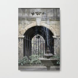 Cloister Fountain Metal Print