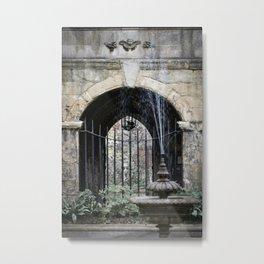 Cloister Fountain Metal Print