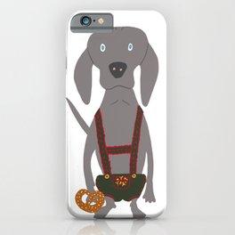 Oktoberfest German Weim Grey Ghost Weimaraner Dog Hand-painted Pet Drawing iPhone Case