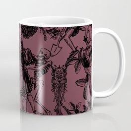 Demons N' Roses Toile in Goth Reddish Purple + Black Coffee Mug