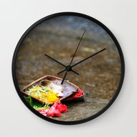hindu Wall Clocks featuring Bali - Hindu Prayer Offering by gdesai