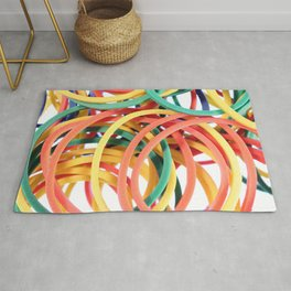 Many Colored Scattered Stationery Rubbers Rug