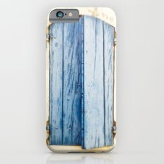 Blue wooden shutter in yellow wall. Slim Case iPhone 6s