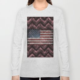 Puce Pink Digital Camo Chevrons with American Flag Long Sleeve T-shirt