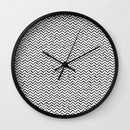 Black & White Hand Drawn ZigZag Pattern Wall Clock