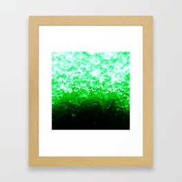 Emerald Green Ombre Crystals Framed Art Print