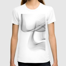 Minimal black and white smoky flux in motion #abstractart #decor T-shirt
