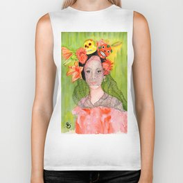 Maria with a Skull and Flower hairpiece Biker Tank