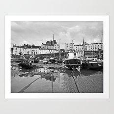 Tenby Harbour Boats.Pembrokeshire.B+W. Art Print