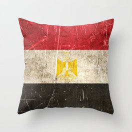 Vintage Aged and Scratched Egyptian Flag Throw Pillow