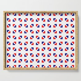 square and tartan 17 - blue and red Serving Tray