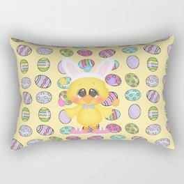 Easter Chick with Bunny Ears Rectangular Pillow