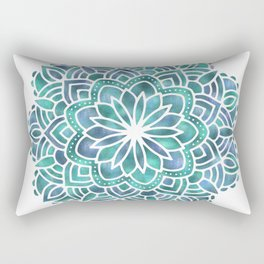 Mandala Succulent Blue Green Rectangular Pillow