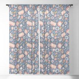 Folk Art Florals in Blue + Pink Sheer Curtain