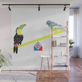 Birds on a seesaw Wall Mural