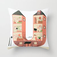 letter Throw Pillows featuring Letter U by Margarida Esteves