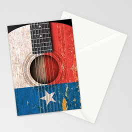 Old Vintage Acoustic Guitar with Texas Flag Stationery Cards