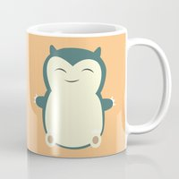 snorlax Mugs featuring It aint easy being sleepy. by Glassy