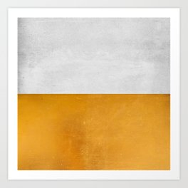 Wabi Sabi - Gold and Grey Texture Art Print