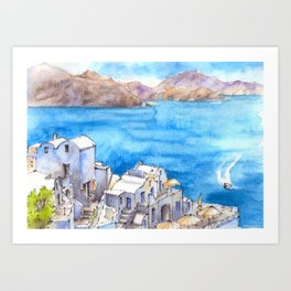 Greece ink & watercolor illustration Art Print