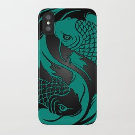 Teal Blue and Black Yin Yang Koi Fish iPhone Case